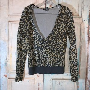 Lucky Brand Leopard Pullover Hoodie EUC